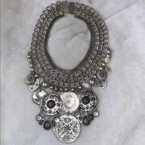 Silver Medallion Bib Necklace